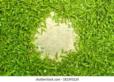 A circular foot step pad surrounded by green grass, grass edge, circular footpath