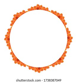 Circular frame with orange floral elements, on a white background. Useful for banner, labels, invitation or greeting cards.