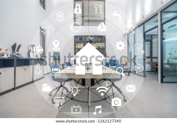Circular futuristic interface of smart home automation assistant on a virtual screen and a user touching a button