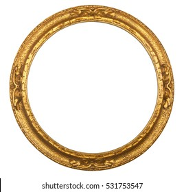 CIRCULAR GILT ANTIQUE PICTURE FRAME ON WHITE BACKGROUND