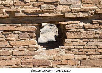 Circular hole through a wall at Chaco Canyon National Historic Park