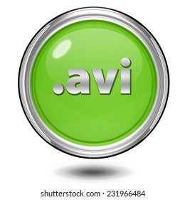 .avi circular icon on white background