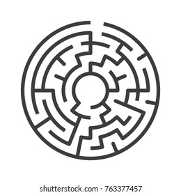 Circular maze isolated on white background. Challenge, problem, confusion and solution concept. Flat design