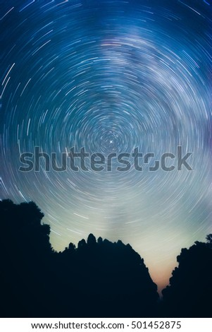 Circular Motion Of Stars Around The Polar Star In Blue Sky Earths Axis Is