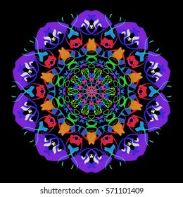 The circular multicolored floral ornament in the style of a mandala on a black background.