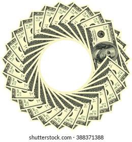 Circular ornament one hundred dollar bill obverse