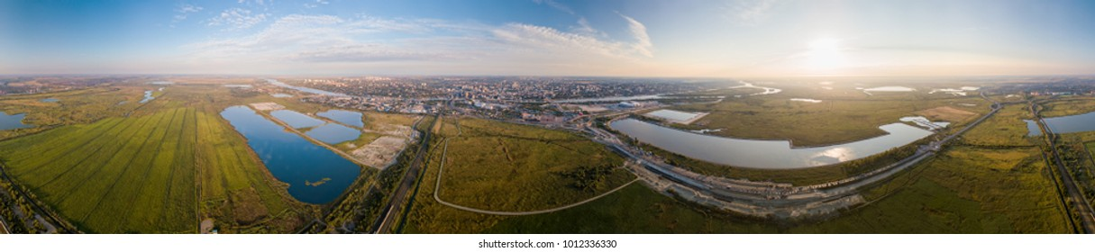 Circular panorama of Rostov-on-Don. Stadium, the river Don. Russia, Rostov-on-Don
