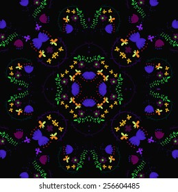 Circular pattern of colored floral motif, text, bouquets, butterflies on a  black background. Hand drawn.