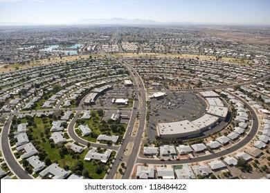 Circular pattern of rooftops in Sun City. Arizona