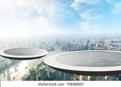 The circular platform suspended above the financial district of lujiazui is in Shanghai
