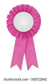 Circular pleated pink ribbon winners rosette with blank white center for applying a design to. Photographed on a blank white background. Can be used to represent femininity or breast cancer causes.