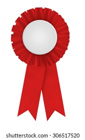 Circular pleated red ribbon winners rosette with blank white center for applying a design to. Photographed on a blank white background.