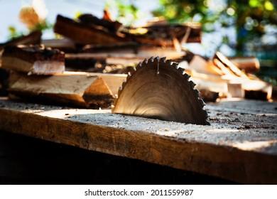 circular power saw for cutting wood. circular saw blade on a wooden machine.