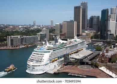 Circular Quay, cruise ship terminal and buildings in Sydney,Australia/Overseas Passenger Terminal/SYDNEY,NSW,AUSTRAILA-NOVEMBER 20,2016: Cruise Ship at Overseas Passenger Terminal in Sydney, Australia