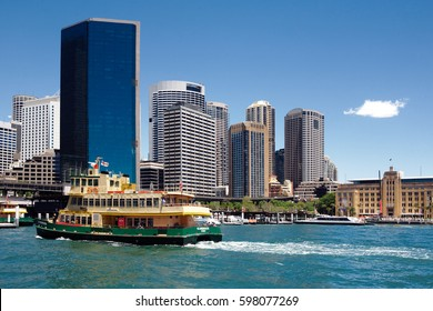 Circular Quay, harbour, commuter ferry wharves, with Sydney CBD Circular Quay, harbour, commuter ferry wharves, with Sydney CBD in the background