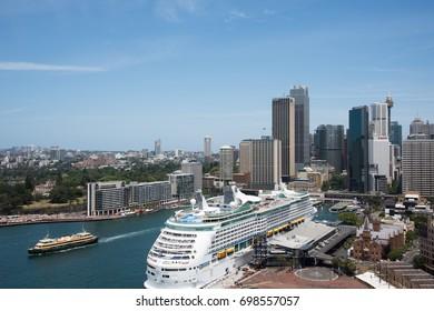 Circular Quay with Overseas Passenger Terminal in Sydney,Australia/Overseas Passenger Terminal/SYDNEY,NSW,AUSTRALIA-NOVEMBER 20,2016: Circular Quay with Overseas Passenger Terminal in Sydney,Australia