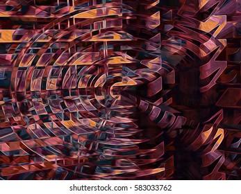 Circular and radiating, intense digital background.