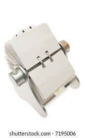 Circular rolodex card file isolated on a white background with clipping path.