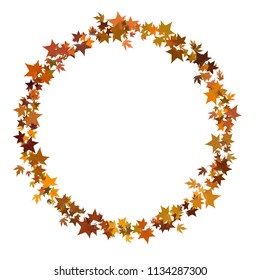 Circular round border in autumn leaf style, seasonal, isolated on white.