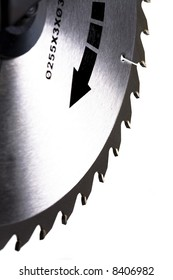 Circular Saw Blade in White Background, Shallow DOF