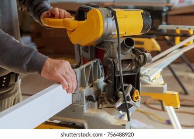 Circular Saw. Carpenter Using Circular Saw for wood wood cuts circular saw
