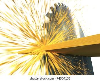 circular saw cuts wood, 3d render