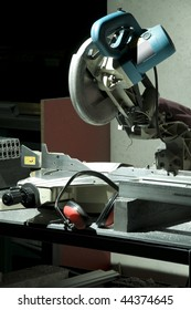 Circular saw in the workshop