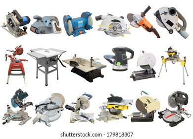 circular saws and other woodworking equipment under the white background