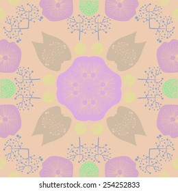 Circular seamless pattern of colored floral motifs  on a pale orange   background. Hand drawn.