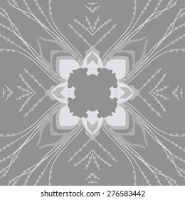 Circular seamless pattern of floral motif, leaves, ellipses,branches,spots. Hand drawn.