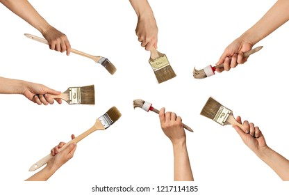 circular set of paint brushes in hands in a circle, on white background