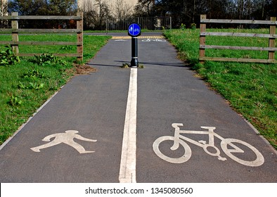 Circular shared cycling and walking sign with white road markings of bike and person walking.