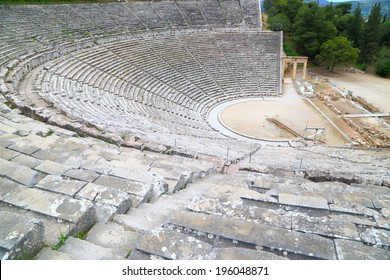 Circular stone rows of a Greek amphitheater, Epidaurus, Greece