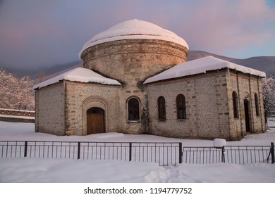 "Circular temple, Nukha Three sacred chapels. The name of the church was mentioned as ""Nukha Holy Church"" in one source dating back to 1905. Sheki, Azerbaijan -16 December 2017"