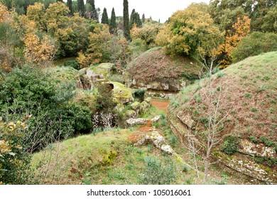 Circular tombs in the Etruscan Necropolis of Cerveteri, Italy.