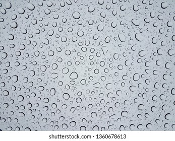 circular water droplets or drops on glass window from rain