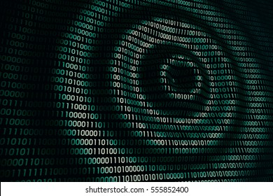 circular waves on abstract green blue metallic digital wall in cyberspace, binary technology background, 3d illustration