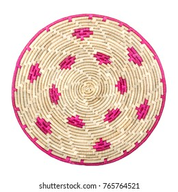 Circular Weave Rattan Palm Bamboo Wicker Table Place Mat on a white background