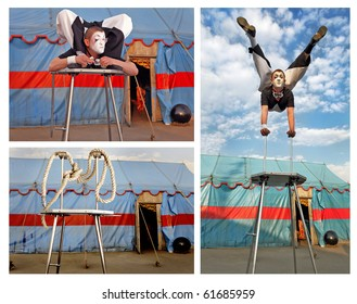 Circus acrobat with a plastic body executes his tricks. Collage from 3 Photos.