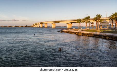 Circus Bridge spanning the inter-coastal in Sarasota at dawn