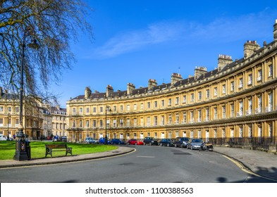 The Circus -- the iconic British style architecture buildings.The historic street of large townhouses in the city of Bath, United Kingdom.