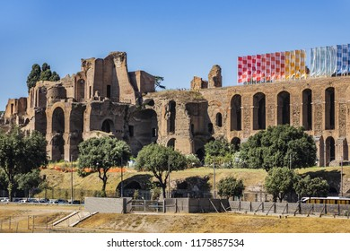 Circus Maximus (Circo Massimo) - ancient Roman chariot racing stadium and mass entertainment venue located in Rome. Situated in valley between Aventine and Palatine hills. Italy.