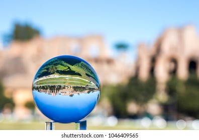 Circus Maximus in the crystal ball in Rome.