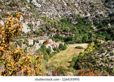 Circus of Navacelle (Cirque de Navacelles) in Cevennes National park. Gard, Herault, France : UNESCO world heritage site.