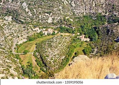 Circus of Navacelles (Cirque de Navacelles) in Cevennes National park. Gard, Herault, France : UNESCO world heritage site.