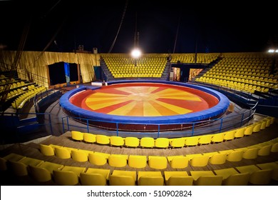 circus ring and chairs for people