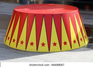 circus stand in red and yellow color