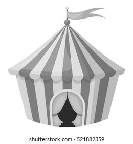 Circus tent icon in monochrome style isolated on white background. Circus symbol stock bitmap illustration.