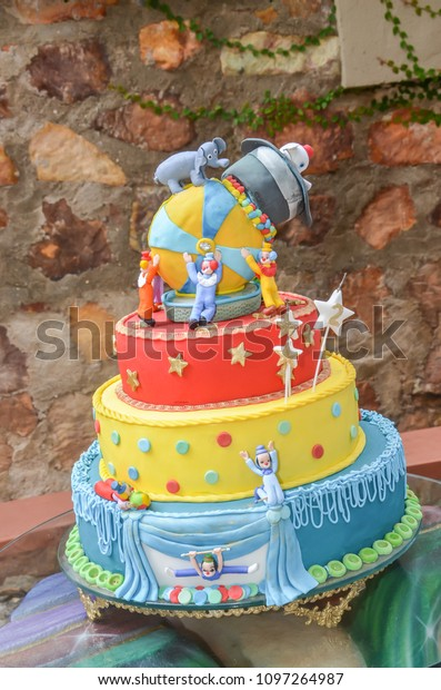 Wondrous Circus Theme Birthday Cake Stock Photo Edit Now 1097264987 Funny Birthday Cards Online Elaedamsfinfo
