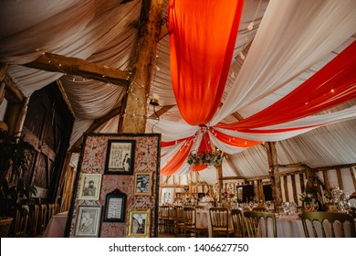 Circus themed wedding reception with big top canopy